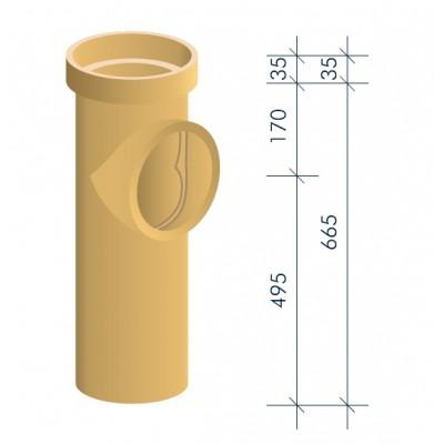 Тройник керамический для подключения потребителя MULTIkeram 665 мм. с коротким патрубком 90 мм М1