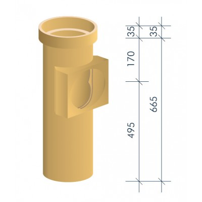 Тройник керамический для подключения потребителя MULTIkeram, 665 мм, с MKR-ASA II (топливо: газ)