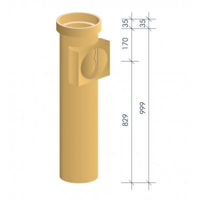 Тройник керамический для подключения потребителя MULTIkeram, 1 000 мм, с MKR-ASA II (топливо: газ)