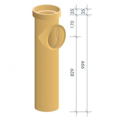 Тройник керамический для подключения потребителя MULTIkeram 1 000 мм. с коротким патрубком 90 мм М1
