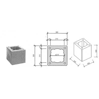 Блок дымоходный 390х390х250 d180-200